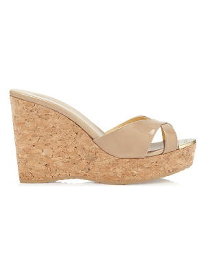 JIMMY CHOO Pandora Nude Patent Leather Wedge Sandals