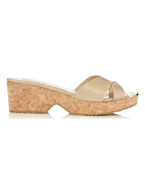 Jimmy Choo PANNA Nude Patent Leather Wedge Sandals
