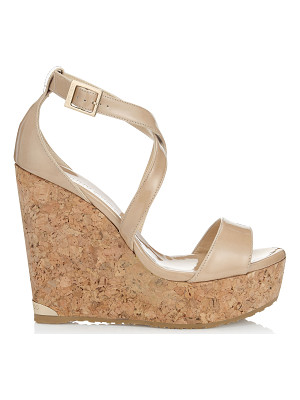 Jimmy Choo PORTIA 120 Nude Patent Leather Cork Wedges