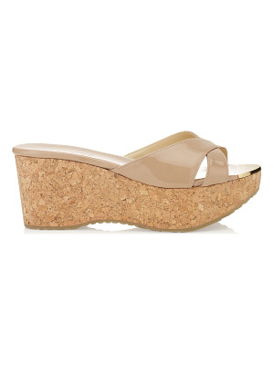 JIMMY CHOO Prima Nude Patent Leather Wedge Sandals