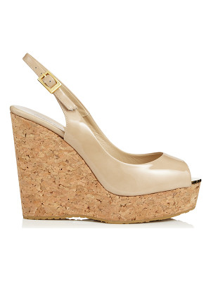 JIMMY CHOO Prova Nude Patent Leather Sling Back Peep Toe Wedges