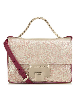 JIMMY CHOO Rebel Soft Mini Champagne Metallic Grainy Goat Leather Mini Cross Body Bag
