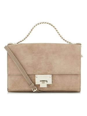 JIMMY CHOO Rebel Soft/S Light Mocha Suede Messenger Bag