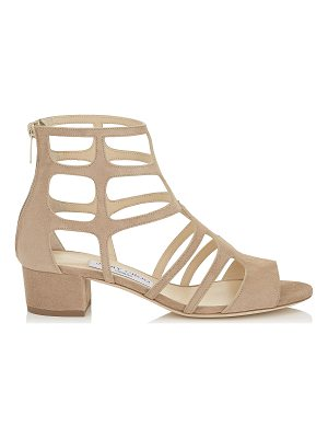 JIMMY CHOO Ren 35 Nude Suede Sandals