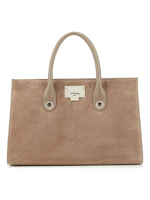 Jimmy Choo RILEY Light Mocha Suede Tote Bag