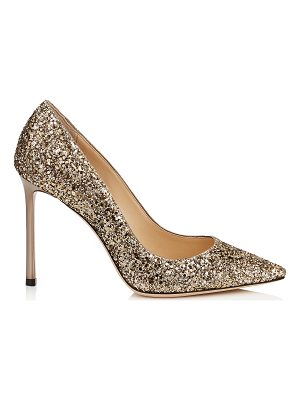JIMMY CHOO Romy 100 Antique Gold Coarse Glitter Pointy Toe Pumps