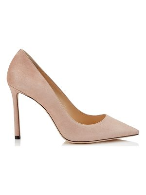 JIMMY CHOO Romy 100 Ballet Pink Suede Pointy Toe Pumps