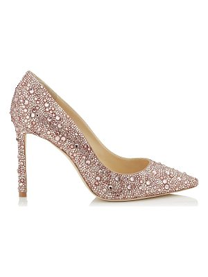 JIMMY CHOO Romy 100 Ballet Pink Suede Pointy Toe Pumps With Crystal Hotfix