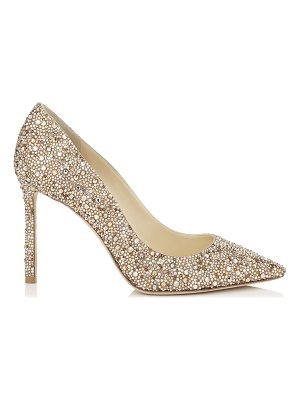 JIMMY CHOO Romy 100 Nude Suede Pointy Toe Pumps With Crystal Hotfix