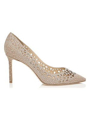 Jimmy Choo ROMY 85 Nude Perforated Suede with Crystal Hotfix Detailing Pointy Toe Pumps
