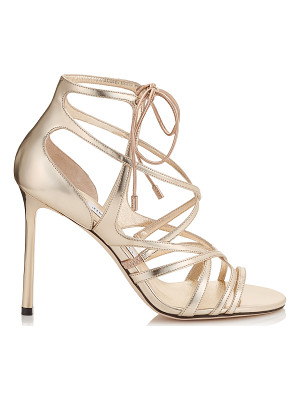 Jimmy Choo TESS 100 Champagne Mirror Leather Strappy Sandals
