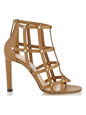 Jimmy Choo TINA 100 Cuoio Calf Leather Sandals with Light Gold Studs