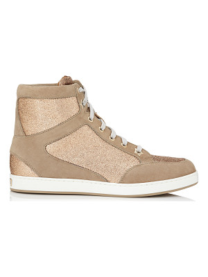 Jimmy Choo TOKYO Nude Suede and Glitter Sneakers