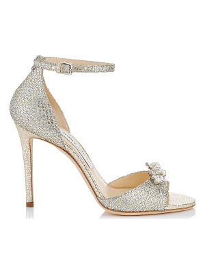 Jimmy Choo TORI 100 Champagne Glitter Fabric Sandals with Jewelled Clip