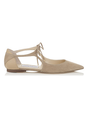 JIMMY CHOO Vanessa Flat Nude Suede And Nappa Pointy Toe Flats