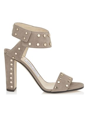 Jimmy Choo VETO 100 Light Mocha Suede Sandals with Gold Studs