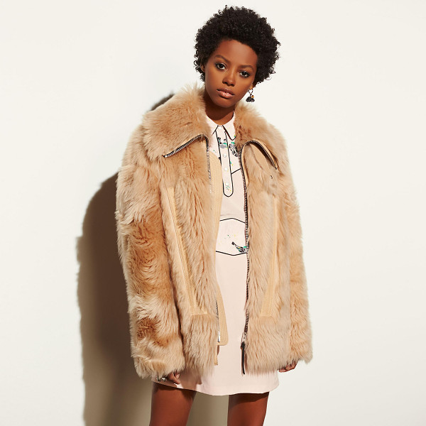COACH apr s ski shearling coat - Cozy up to this crazy-soft, statement-making coat. Slightly...