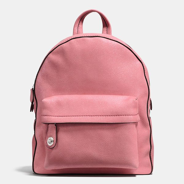 COACH campus backpack - Crafted in pebble leather with a glittery finish, the...