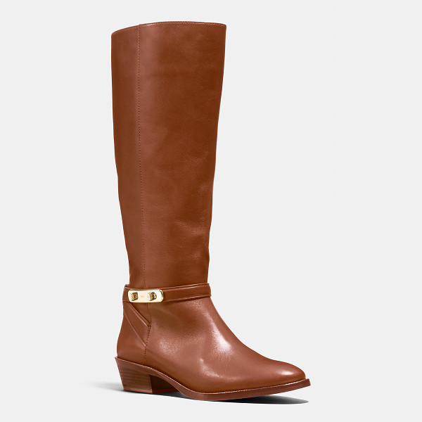 COACH caroline swagger boot - Strapping at the ankle and a classic stacked heel add...