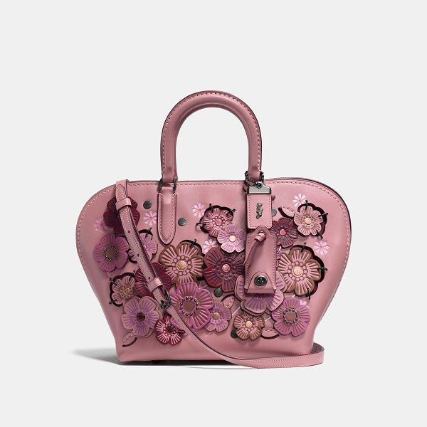 COACH dakotah satchel 22 with linked tea rose - A curved shape based on 1960s bowling bags, the Dakotah is...