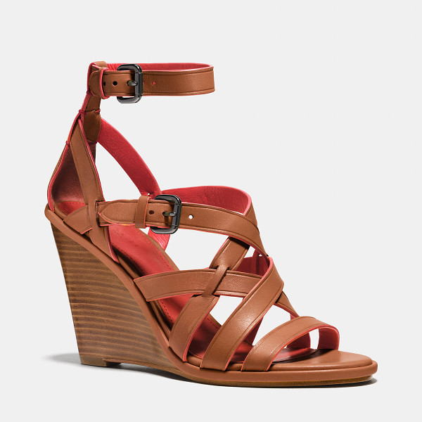 COACH dawn wedge - Vibrant contrasting colors meet in a striking, multi-strap...