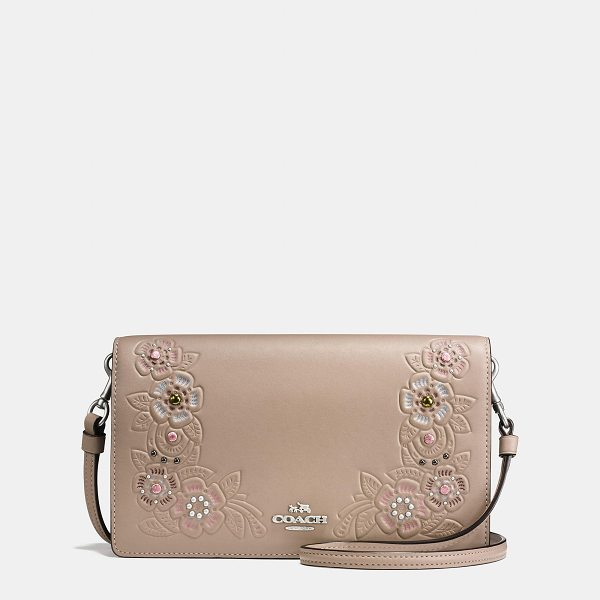 COACH foldover crossbody clutch with tea rose tooling - Easy, compact and practical-the perfect grab-and-go bag. A