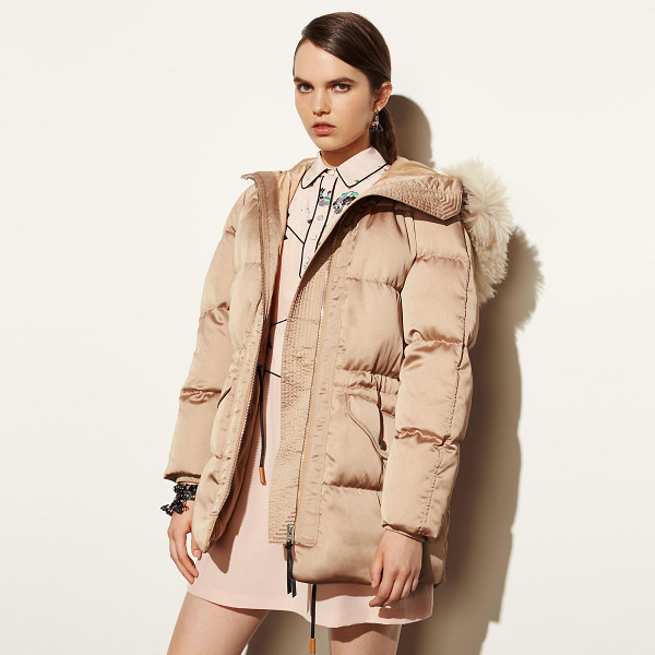 COACH icon puffer parka with shearling - The utilitarian cold weather staple gets a glam...
