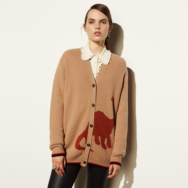 COACH long sleeve cardigan with dino - Intarsia-knit in impossibly soft cashmere, this cozy prep...
