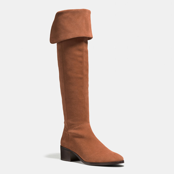 COACH lucia boot - Over-the-knee drama meets the luxury of plush, velvety...