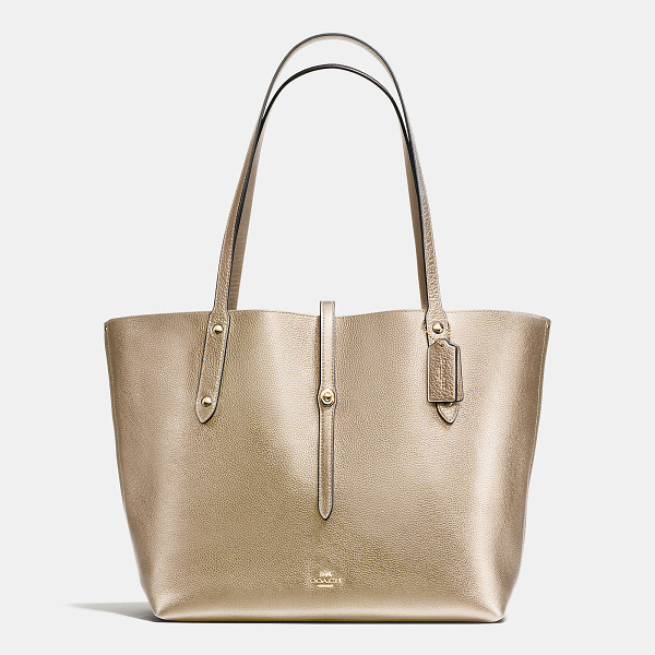 COACH market tote - Plump pebble leather gives the elegant Market Tote a richly...