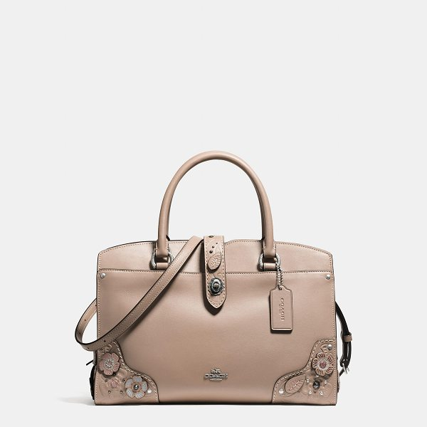 COACH mercer satchel 30 with painted tea rose and tooling - The Mercer has all the effortless cool of the Soho street...