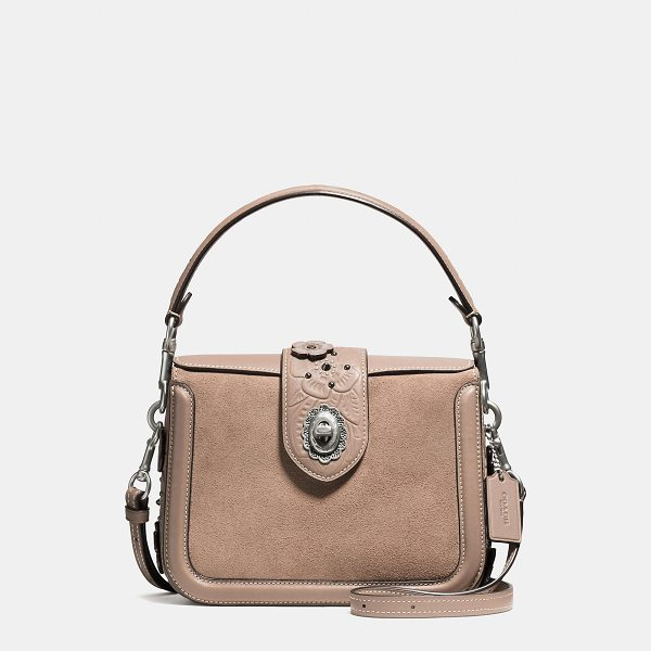 COACH page crossbody with painted tea rose tooling - The Page crossbody references Coach bags from the '90s with...