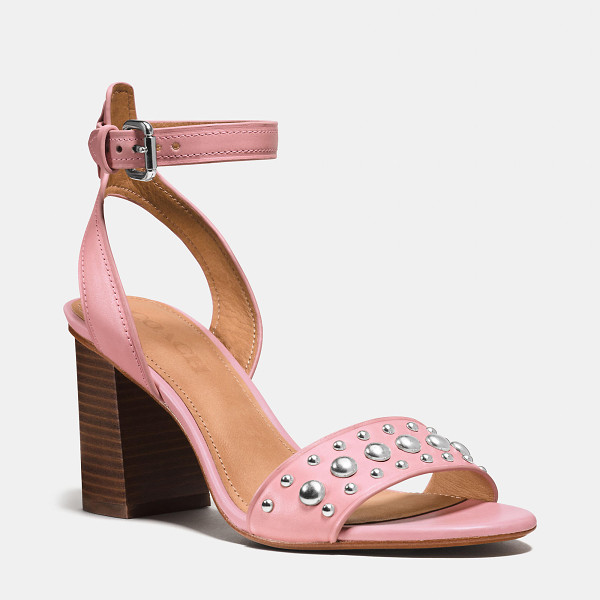 COACH paige studded heel - With a chunky heel and delicate ankle strap, this sandal is