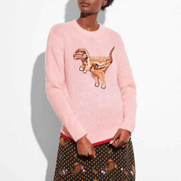 COACH rexy crewneck sweater - Rexy the Coach dino is embellished with sequins and posted...
