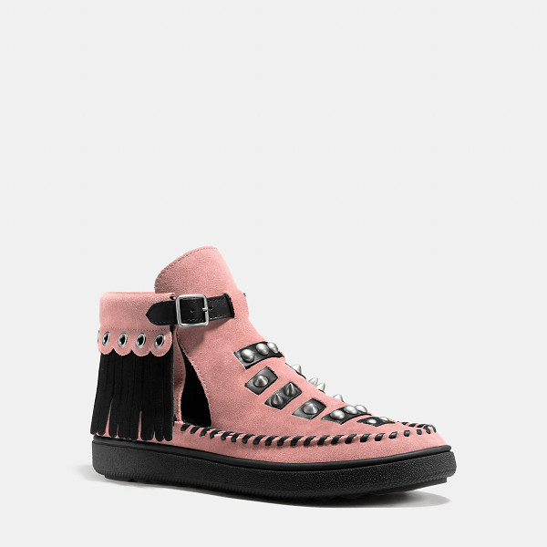 COACH roccasin cut out sneaker - A sneaker-moccasin hybrid tricked out with fringe and rock...