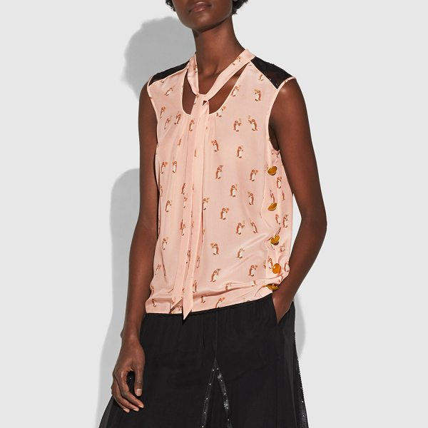 COACH signature chain print sleeveless tie neck blouse - This blouse is crafted in lightweight silk and features our...