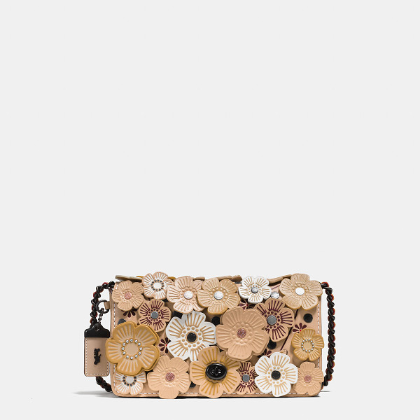 COACH dinky with tea rose - Luxury craftsmanship meets the whimsicality of hand-placed
