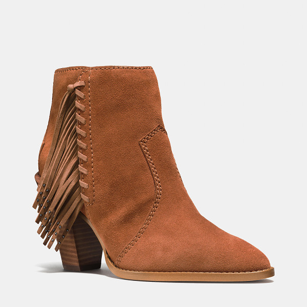 COACH westyn fringe bootie - Hand-laced leather cords accented with delicate metal studs...
