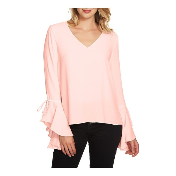 1.STATE cascade sleeve blouse - Ties gather the ruffled cuffs of an easy-fitting top that's...