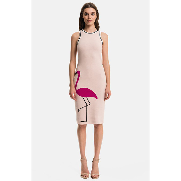 1.STATE flamingo body-con dress - A jacquard-woven flamingo gracefully struts along the...