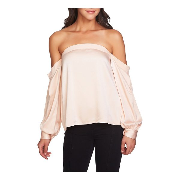 1.STATE off the shoulder satin top - Business-like cuffs finish the long sleeves draping...