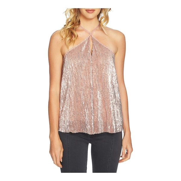 1.STATE sequin halter camisole - Party-ready sequins and sumptuous velvet trim elevate this...