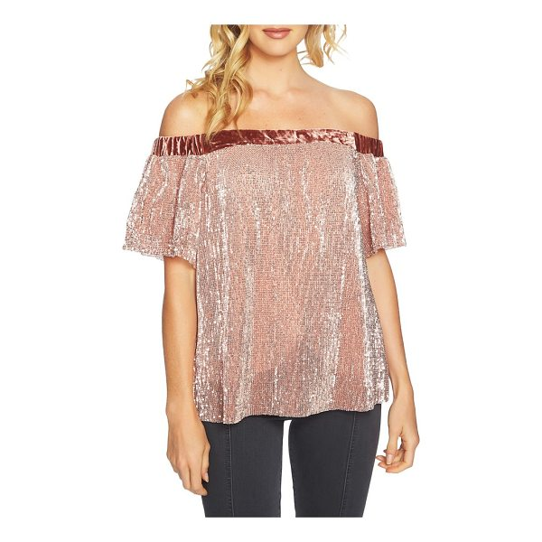 1.STATE sequin & velvet off the shoulder top - Sparkling sequins and party-ready velvet elevate a...
