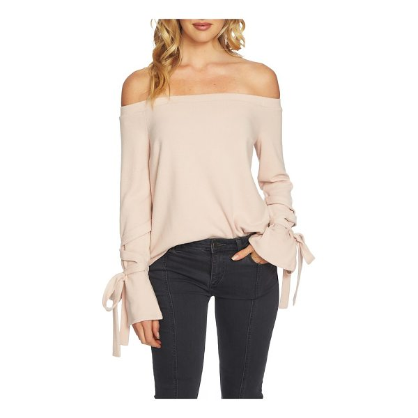 1.STATE the cozy tie sleeve off the shoulder sweater - Soft ties wrap enticingly around the flared cuffs of this...