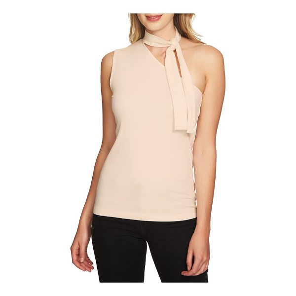1.STATE tie neck one-shoulder top - Take the guesswork out of accessorizing with this rib-knit...