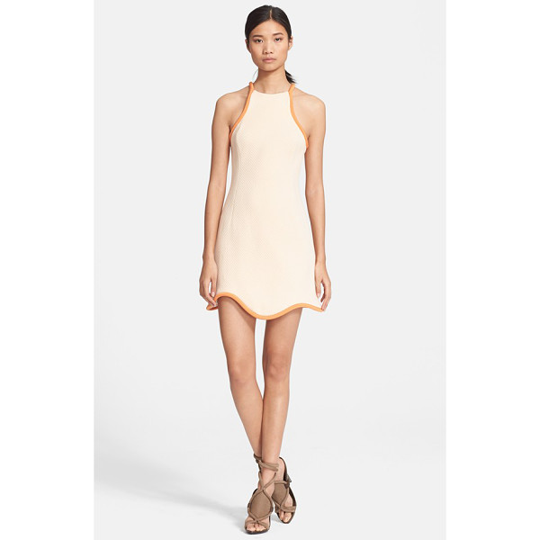 3.1 PHILLIP LIM cutaway cotton waffle knit dress - Thick corded silk in a darker shade traces the cutaway...