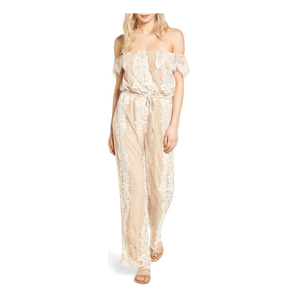 4SI3NNA lace off the shoulder jumpsuit - Romantic and modern, a two-tone lace jumpsuit offers...