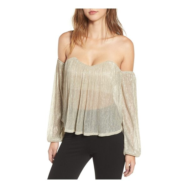 4SI3NNA off the shoulder top - Shimmer and shine in this shoulder-baring top designed with...