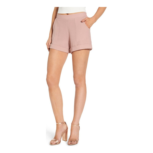 4SI3NNA textured shorts - A pretty hue and textured weave make these cuffed and...