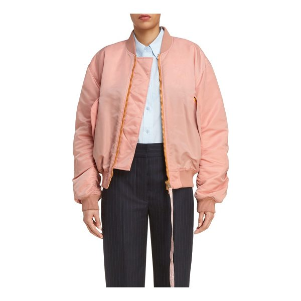 ACNE STUDIOS clea crop bomber jacket - A delicate shell-pink hue puts a girlish spin on a ruched...